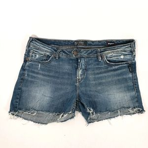 Silver Jeans Diy'd Cut Off Jeans Size18 Distressed